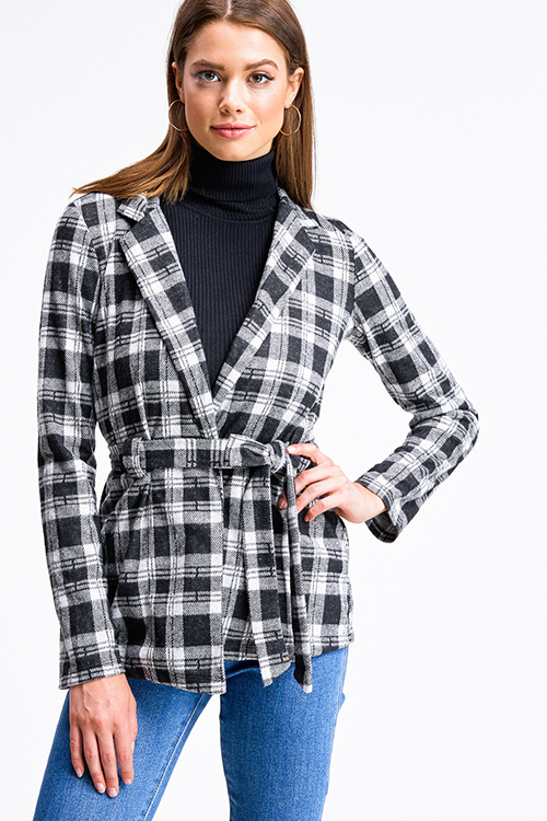 Cute cheap Black plaid flannel long sleeve open front belted coat jacket top