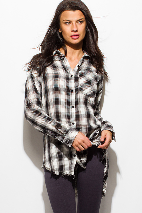 Cute cheap black plaid print flannel long sleeve frayed hem button up blouse tunic top