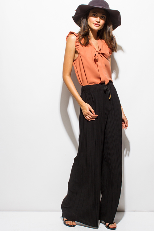 Cute cheap black pleated drawstring high waisted wide leg boho culotte pants