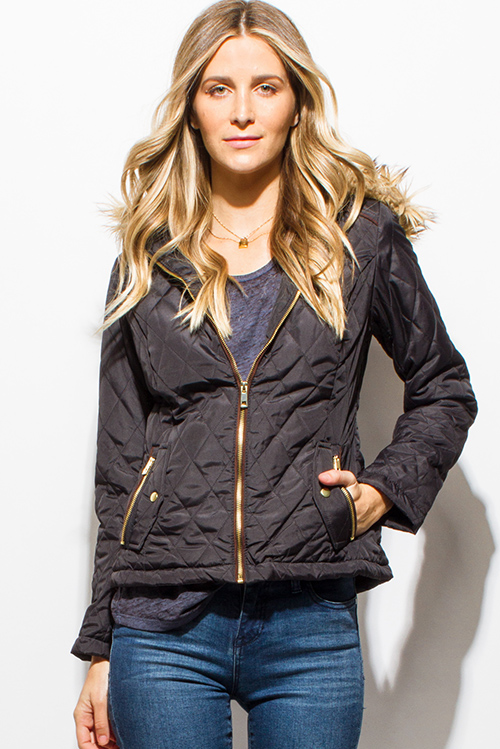 Cute cheap black quilted long sleeve zip up pocketed faux fur lined hooded zip up puffer jacket