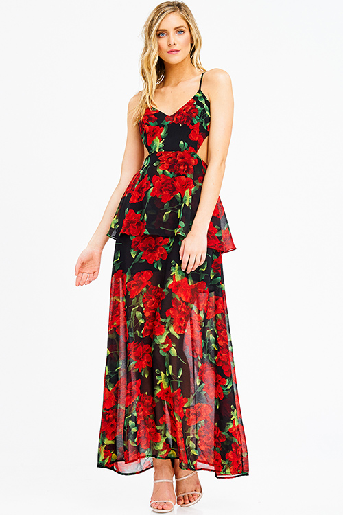 Cute cheap black red rose floral print chiffon sleeveless cut out backless tiered evening maxi sun dress