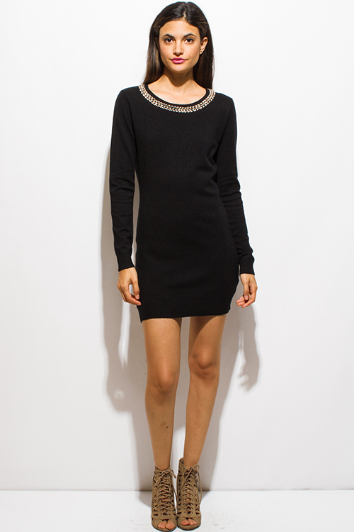 Cute cheap black rhinestone bejeweled long sleeve bodycon fitted sweater knit mini dress