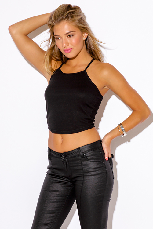 Cute cheap black ribbed fitted crop tank top