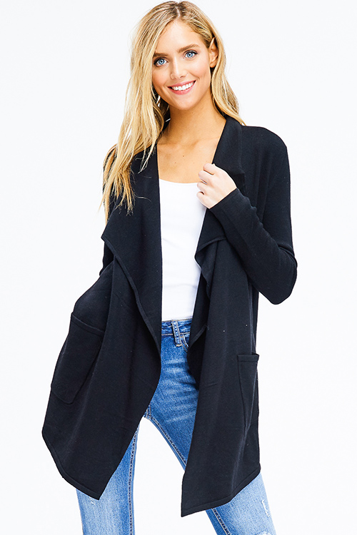 Cute cheap black ribbed knit long sleeve draped collar pocketed open front cardigan