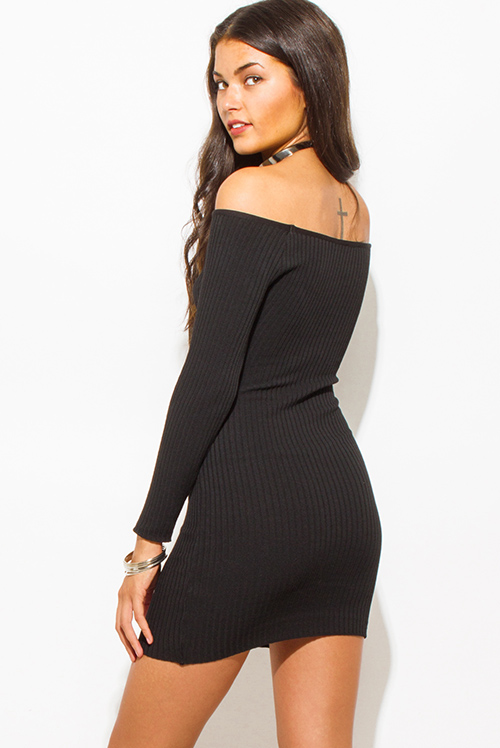 Cute cheap black ribbed knit off shoulder long sleeve fitted bodycon club sweater mini dress
