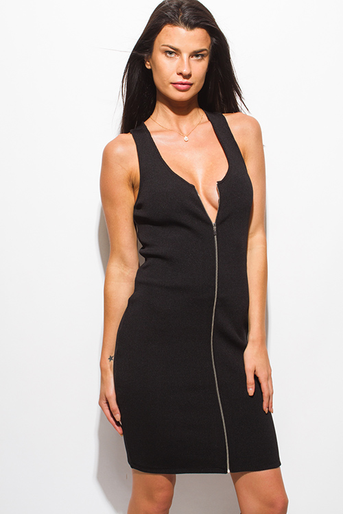 Shop Black Ribbed Knit Sleeveless Zip Up Bodycon Fitted