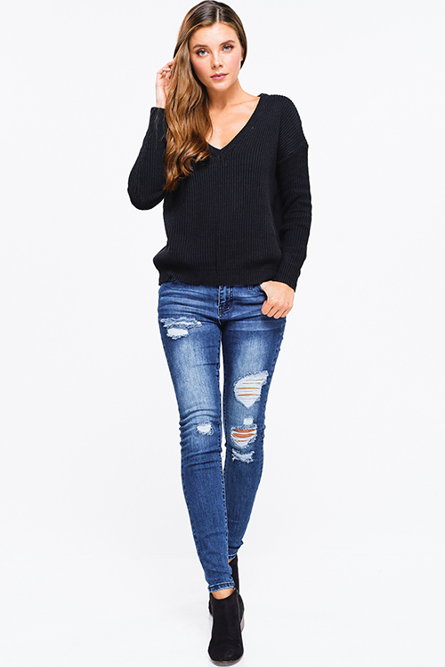 Cute cheap Black ribbed knit v neck long sleeve sweater top