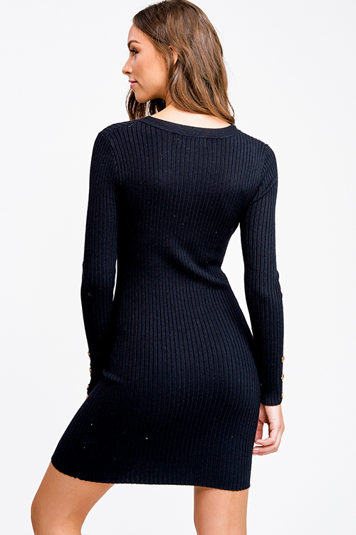Cute cheap Black ribbed v neck button detail boho fitted bodycon sweater midi dress