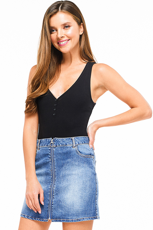 Cute cheap Black ribbed v neck button up sleeveless bodysuit top