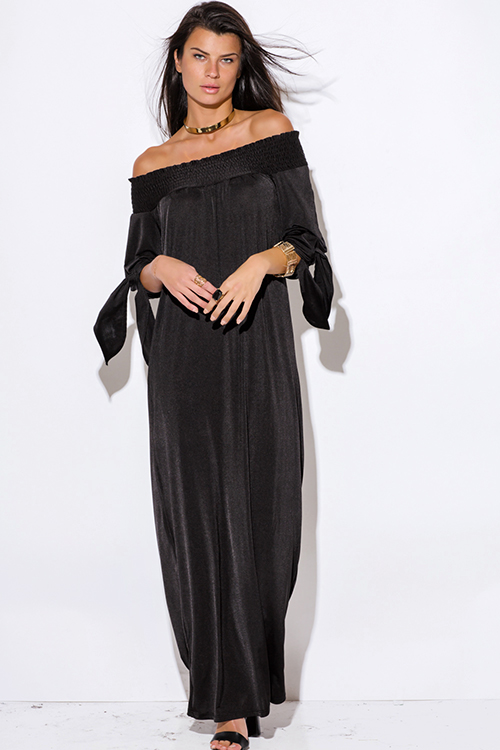 Cute cheap black sashed smocked off shoulder long sleeve formal evening party maxi dress