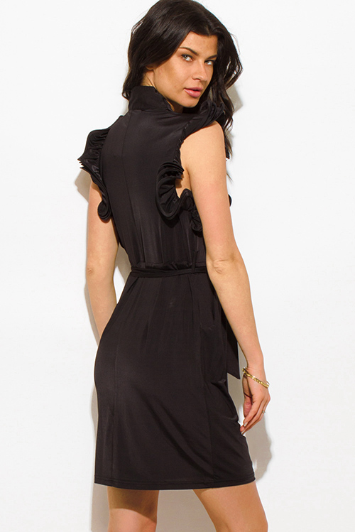 Shop Black Ruffle Trim Wrap Front Sleeveless Cocktail