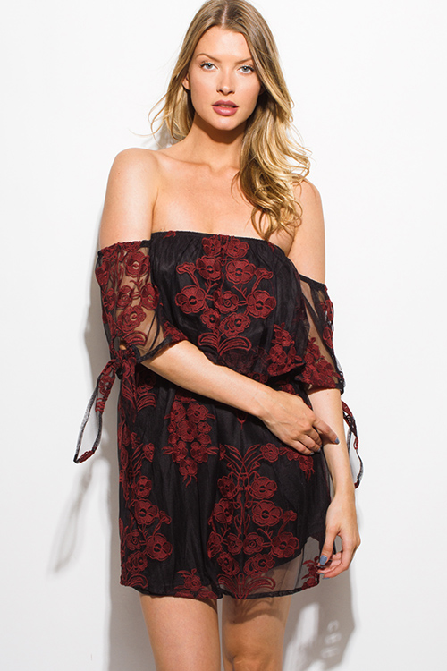 Cute cheap black rust floral embroidered tan mesh off shoulder tie sleeve cocktail party boho mini dress