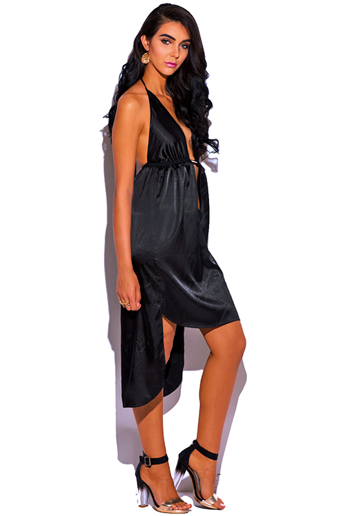 Cute cheap black satin bejeweled deep v neck high low babydoll midi cocktail party evening dress