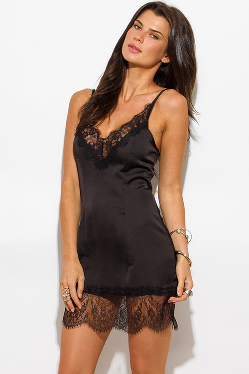 Cute cheap black satin scallop lace trim v neck mini party slip dress