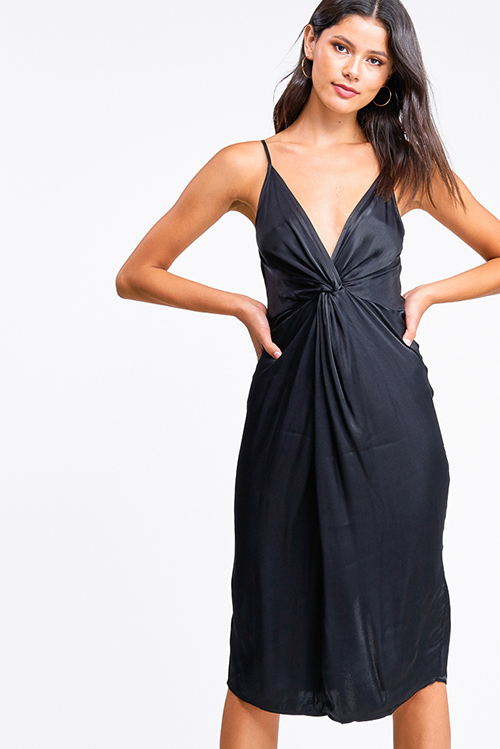 Cute cheap Black satin sleeveless v neck twist front cocktail party midi dress
