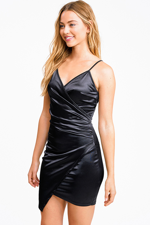 Cute cheap Black satin v neck faux wrap ruched bodycon cocktail party club mini dress