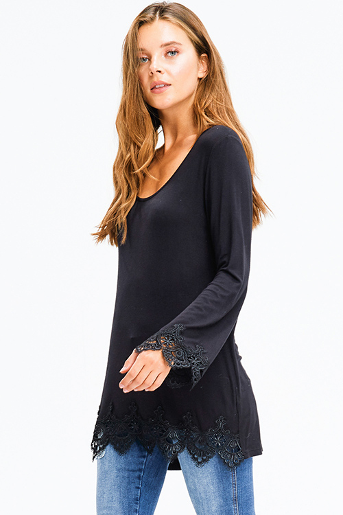 Cute cheap black scoop neck long bell sleeve crochet lace trim boho top