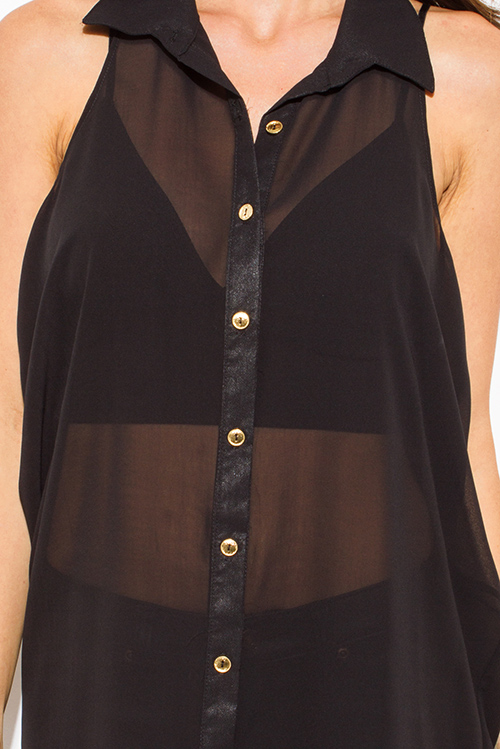 Cute cheap black semi sheer chiffon button up racer back tunic blouse top mini dress