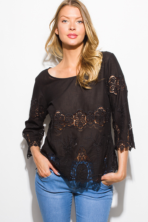Cute cheap black semi sheer cotton crochet lace quarter sleeve scallop hem boho blouse top