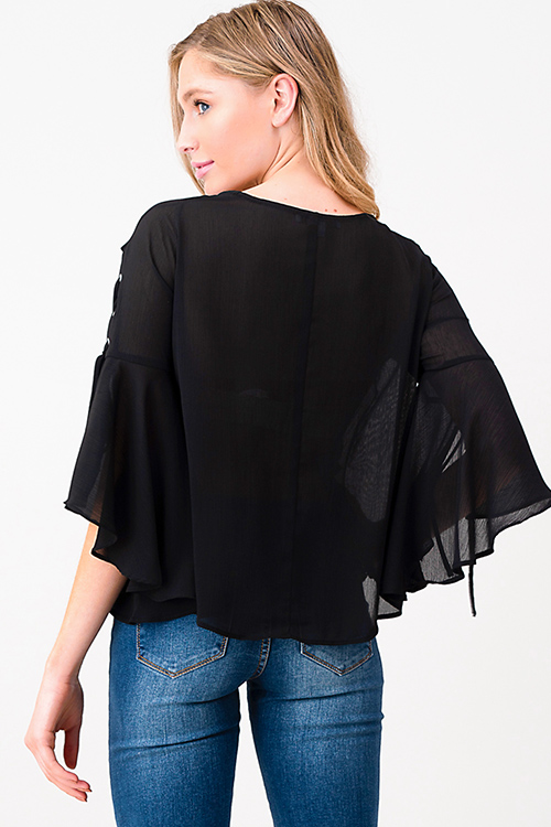Cute cheap Black semi sheer laceup slit angel tie bell sleeve blouse top