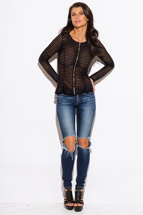 Cute cheap black semi sheer stripe mesh fitted zip up jacket top