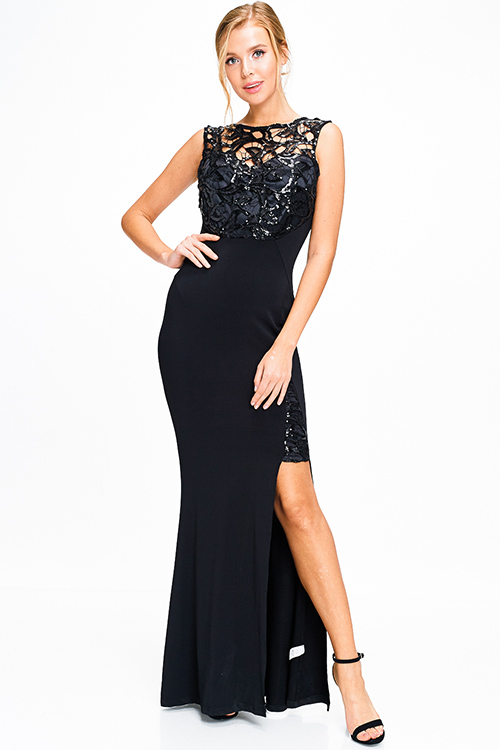Cute cheap Black sequined cut out sleeveless high slit ruched back formal fitted sheath evening gown