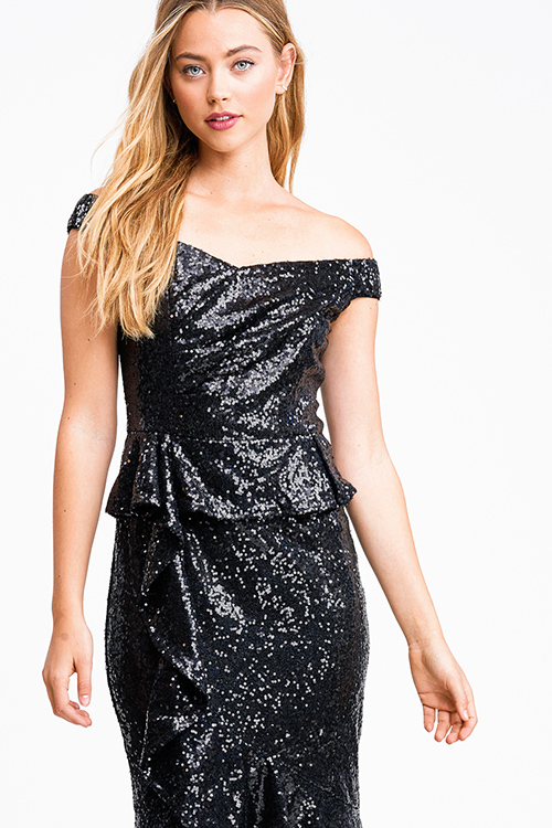 Cute cheap Black sequin off shoulder peplum ruffled pencil fitted cocktail party midi dress