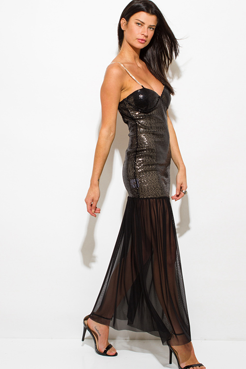 Cute cheap black sequined sheer mesh backless bejeweled formal evening cocktail party maxi dress