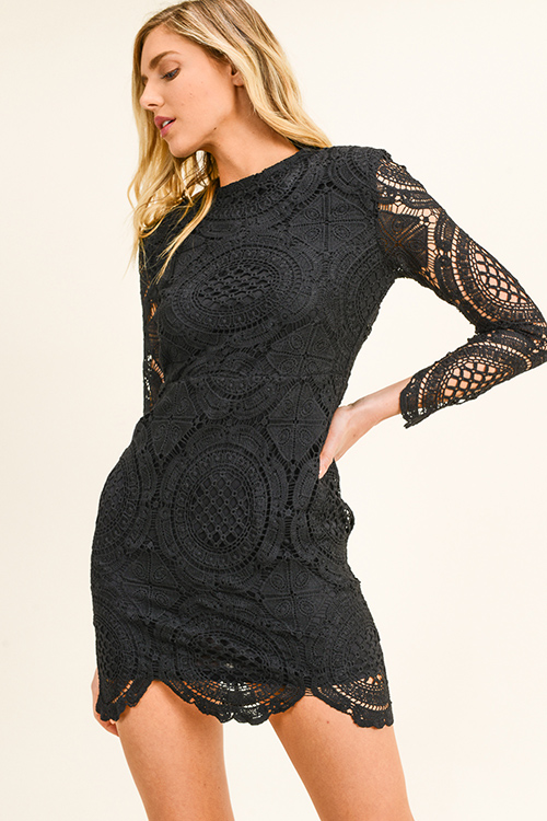 Cute cheap Black sheer crochet lace long sleeve zip up scallop hem party mini dress