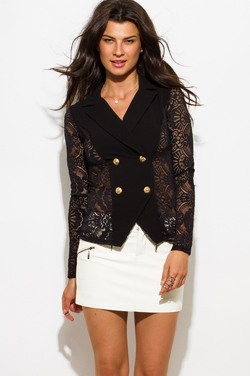 Cute cheap black sheer lace double breasted golden button blazer jacket top