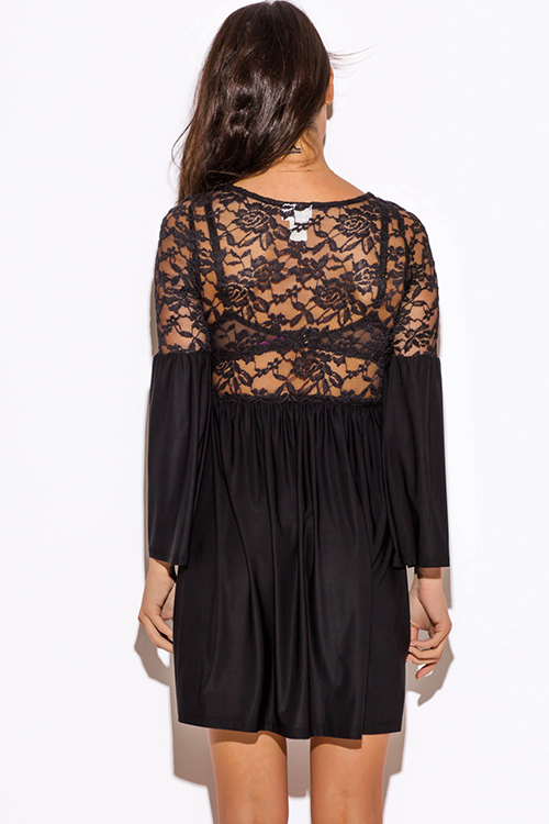 Cute cheap black sheer lace bell sleeve boho club mini dress