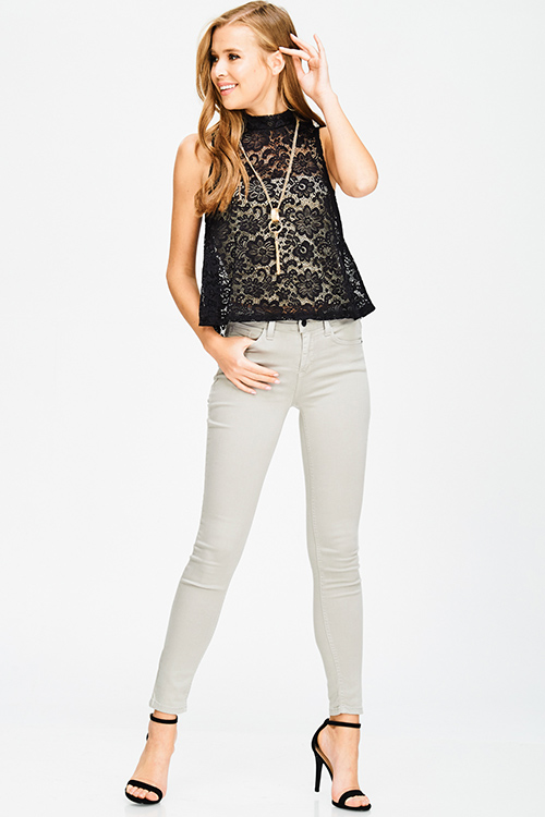 Shop Black Sheer Lace Sleeveless Mock Neck Chain Necklace