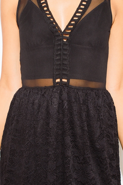 Cute cheap black sheer mesh contrast sheer lace overlay scallop trim a line skater cocktail party club mini dress