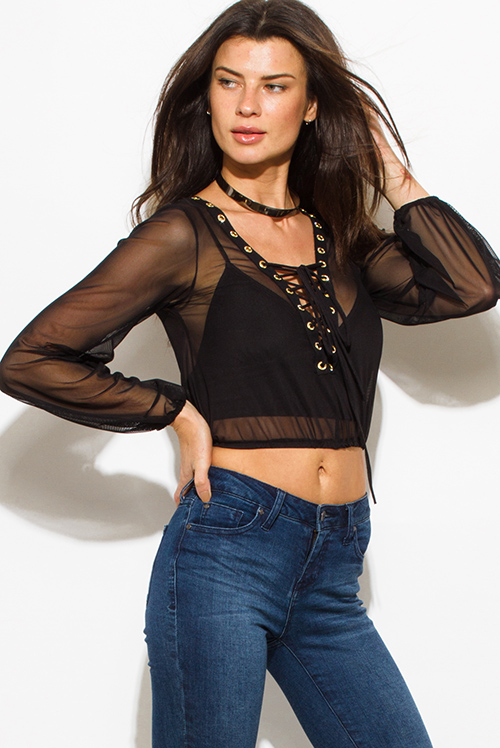 Cute cheap black sheer mesh long sleeve laceup embellished eyelet trim party crop top