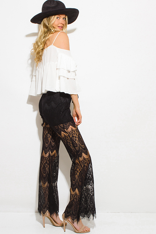 Cute cheap black sheer paisley lace mesh laceup scallop hem boho wide flare leg pants