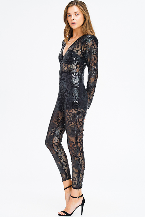Cute cheap black sheer sequined v neck power shoulder long sleeve harem fitted evening club jumpsuit