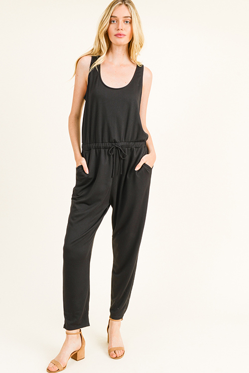 Cute cheap Black sleeveless drawstring tie waist pocketed harem jogger jumpsuit
