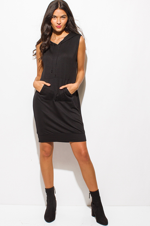 Cute cheap black sleeveless pocketed hooded lounge sweatshirt midi dress