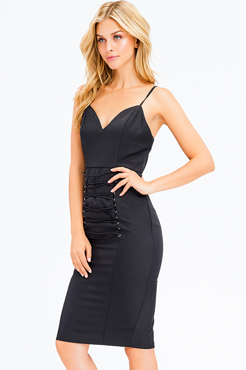 Cute cheap black sleeveless sweetheart neck laceup corset detail bodycon fitted club midi dress