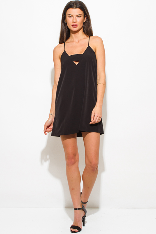 Cute cheap black spaghetti strap cut out racer back cocktail party shift mini dress