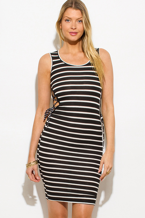 Cute cheap black striped ribbed knit cut out laceup side bodycon fitted club midi dress