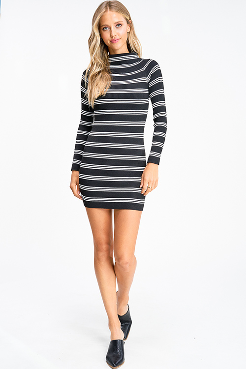 Cute cheap Black striped ribbed knit turtleneck long sleeve fitted sweater mini dress