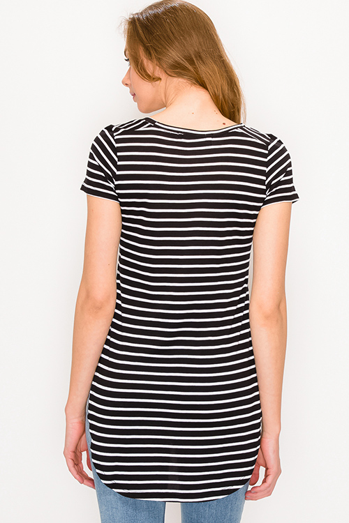Cute cheap Black striped round neck short sleeve side slit curved hem tee shirt tunic top