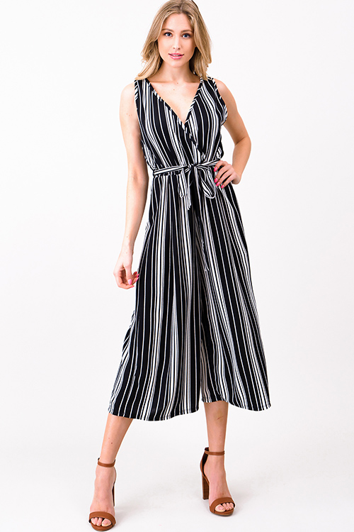 c45dfd6db9e Cute cheap Black striped sleeveless surplice tie waist wide leg boho  cropped jumpsuit