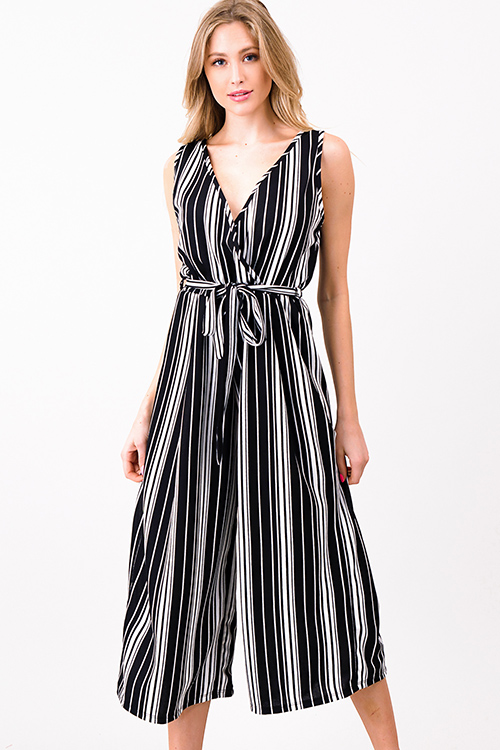 Cute cheap Black striped sleeveless surplice tie waist wide leg boho cropped jumpsuit