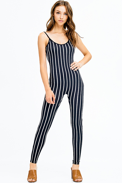 Cute cheap black striped spaghetti strap open back clubbing fitted catsuit jumpsuit