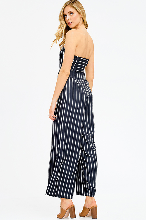 Cute cheap black striped strapless sweetheart neck cut out wide leg resort evening jumpsuit