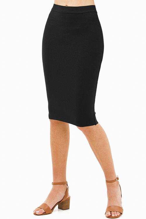 Cute cheap Black sweater knit high waisted bodycon fitted zip up pencil midi skirt