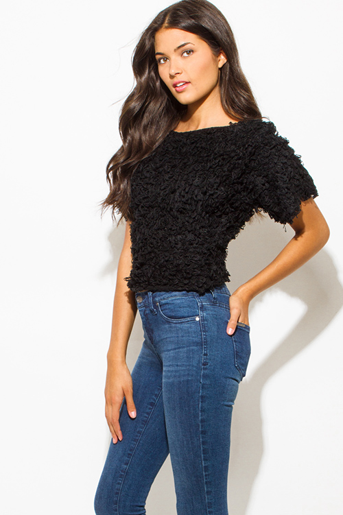 Cute cheap black textured boat neck wide short sleeve knit sweater top
