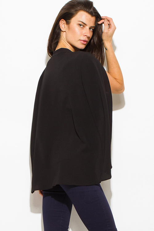 Cute cheap black textured fabric open front cape cropped blazer top
